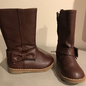 Toddler Brown Boots with Bow